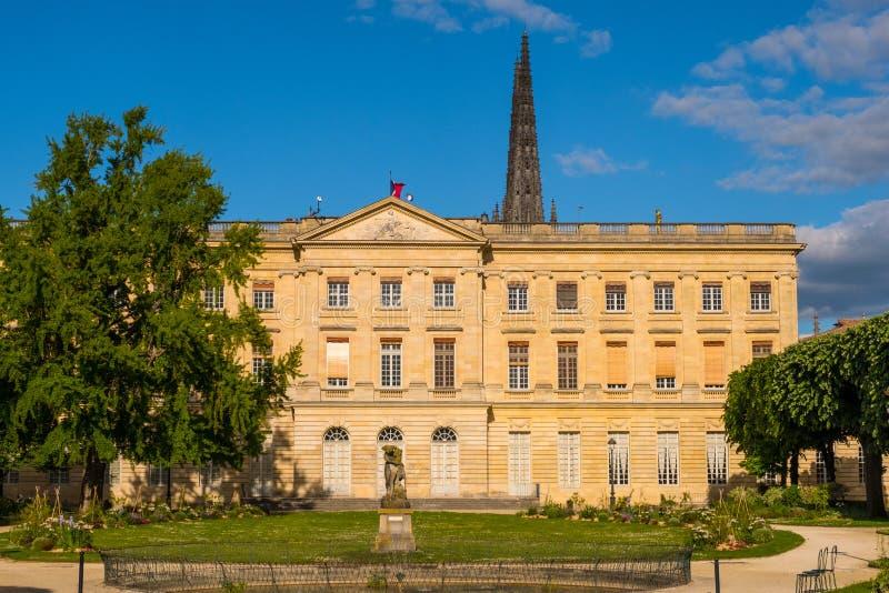 Musee des Beaux Arts in Jardin DE La Mairie openbaar park Bordeaux, Aquitaine, Frankrijk stock afbeeldingen