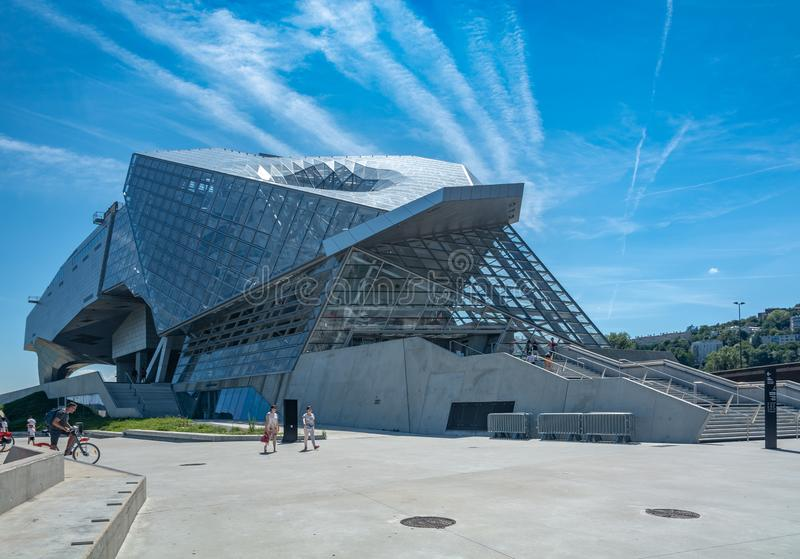 Musee des Confluences in Lyon, France. Lyon, France - July 18, 2018: The Musee des Confluences is a science centre and anthropology museum, located at the royalty free stock images