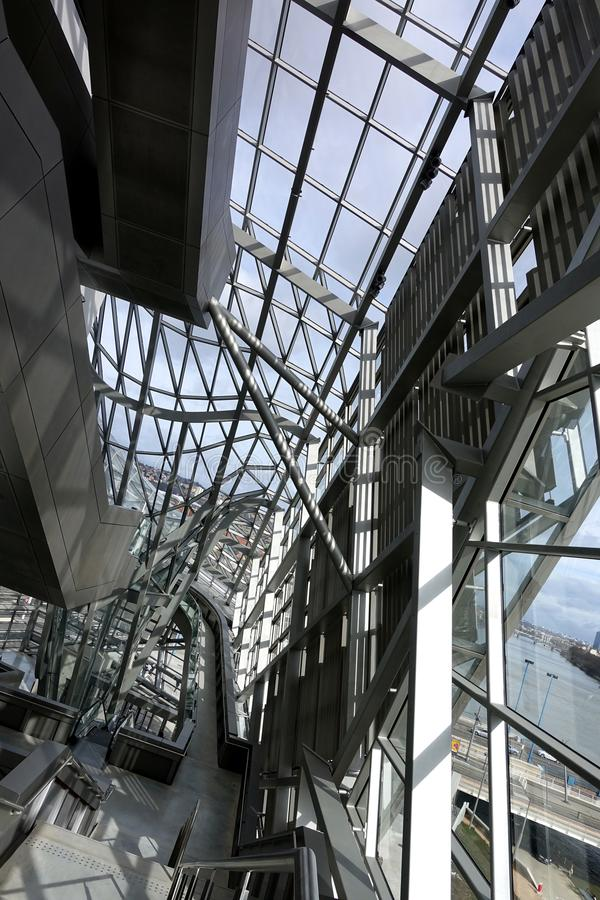 Musee des Confluences, Lyon, France. Striking glass and steel interior architecture of Lyon's science and history museum located at the confluence of the stock photos