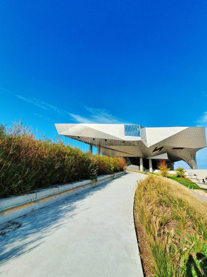 Musee des confluences, modern buliding of a famous museum in Lyon, France stock photo