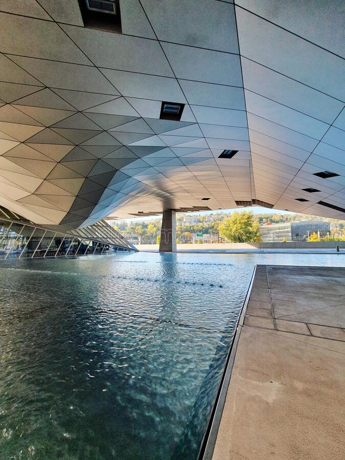 Musee des confluences, modern buliding of a famous museum in Lyon, France stock images