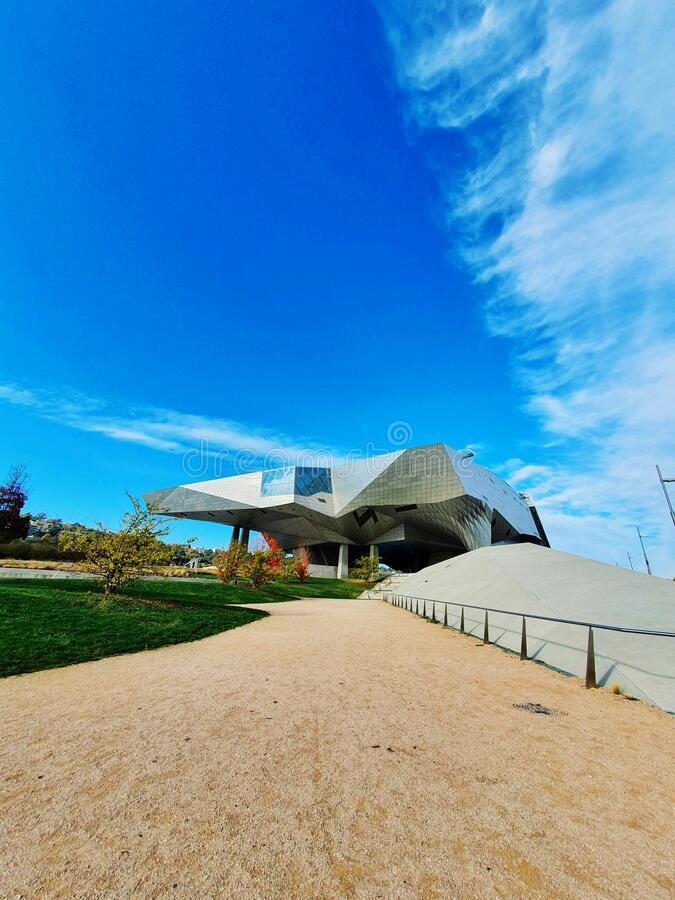 Musee des confluences, modern buliding of a famous museum in Lyon, France royalty free stock photography