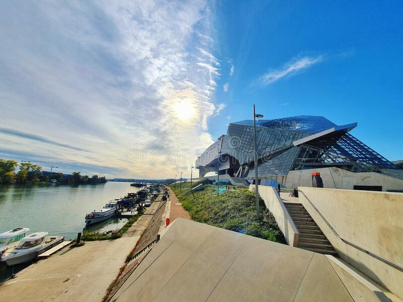 Musee des confluences, modern buliding of a famous museum in Lyon, France stock photography