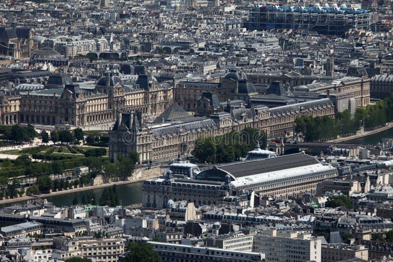 Museen von Paris, Luftaufnahme stockfotos