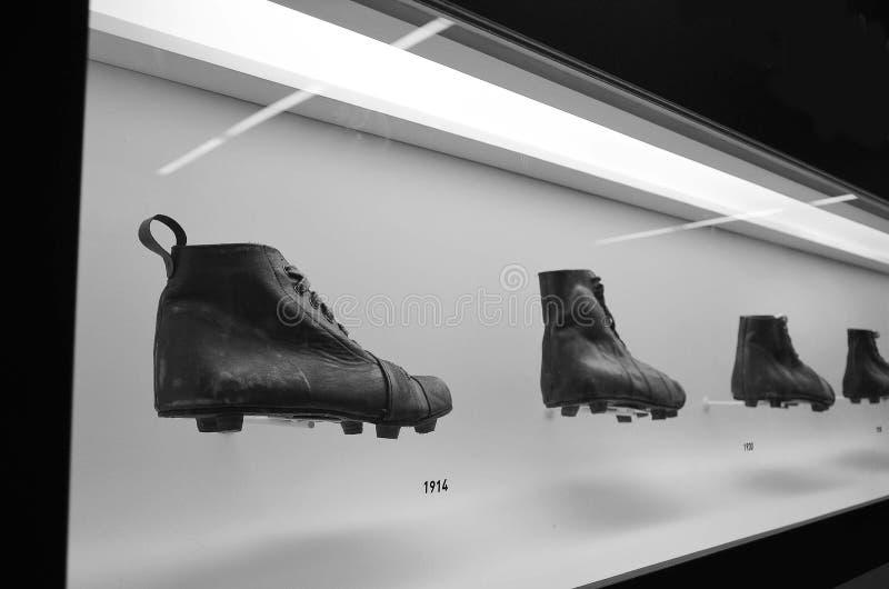 Museet av fotboll är ett utrymme som ägnas till de olika ämnena som gäller övningen, historien och byrackan, Sao Paulo, Brazi royaltyfria foton