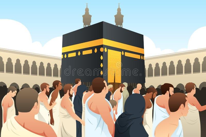 Muselmanen vallfärdar att gå runt om Kaaba i Mecka royaltyfri illustrationer