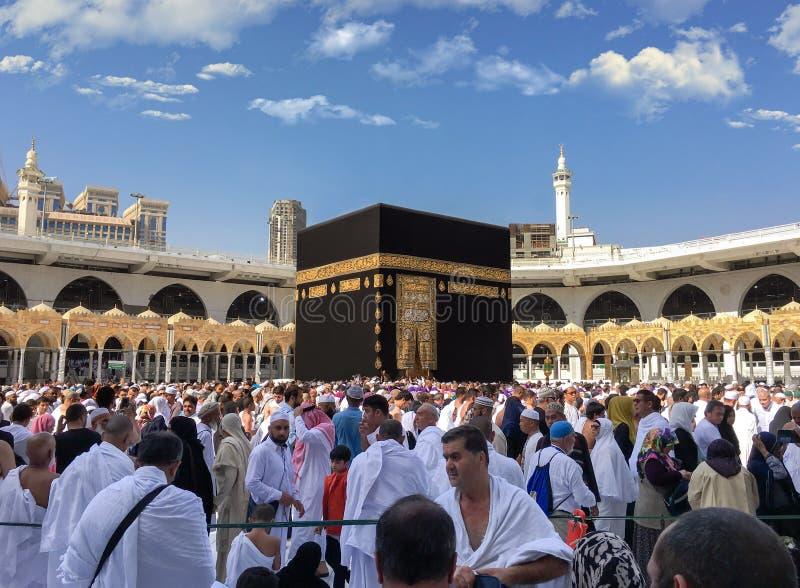 Muselmaner samlade i Mecka av de olika länderna för världs` s royaltyfri foto