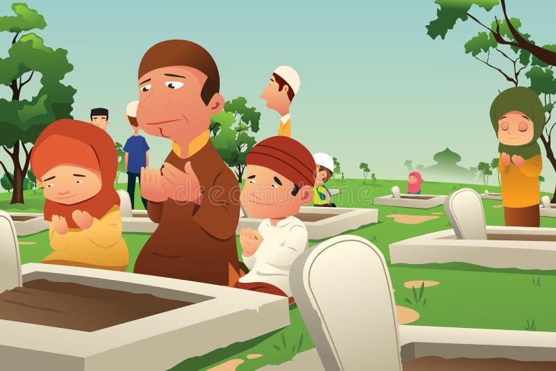 Muselmaner som besöker och ber på kyrkogården vektor illustrationer