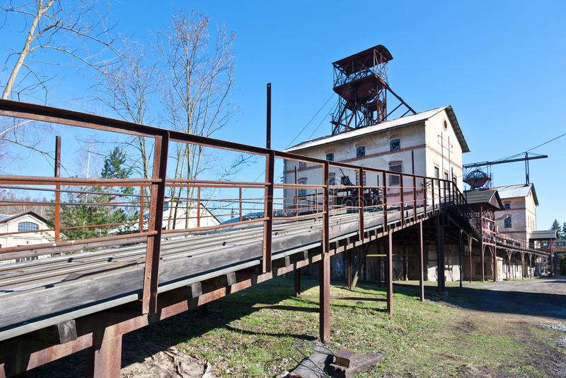 Museo all'aperto, miniera di carbone Mayrau, Vinarice, Kladno, repu ceco immagini stock libere da diritti