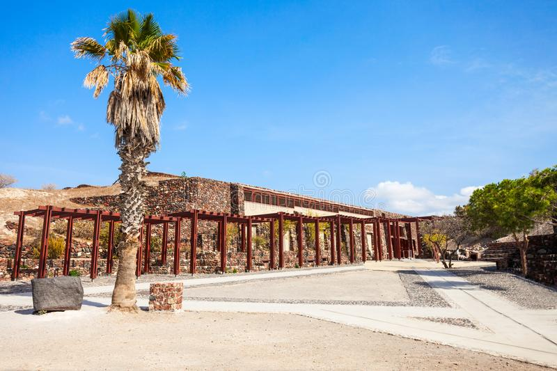 Museo archeologico del sito di Akrotiri immagini stock libere da diritti