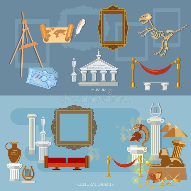 Museo arqueológico de la exposición de la antigüedad y de la ciencia natural stock de ilustración