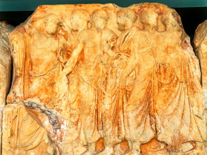 Museo Atene Grecia dell'acropoli del Partenone del pannello dei greci antichi fotografie stock libere da diritti