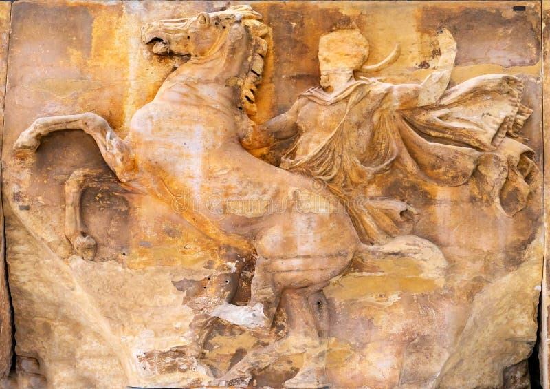 Museo Atene Grecia dell'acropoli di re Horse Panel Parthenon immagini stock