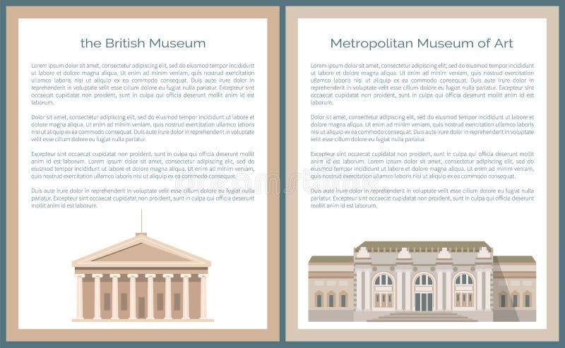 Museo britannico e metropolitano di Art Vector Set illustrazione vettoriale