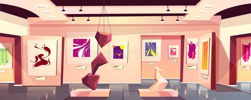 Museo de arte, vector de la historieta de la sala de exposiciones de la galería libre illustration