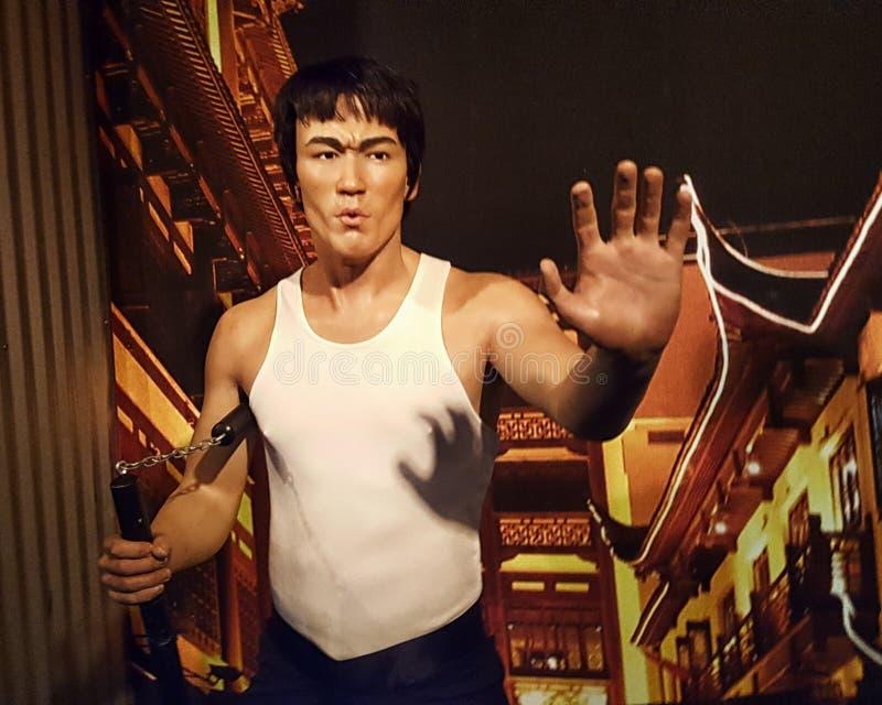 Museo de Bruce Lee Wax Statue Hollywood Wax foto de archivo