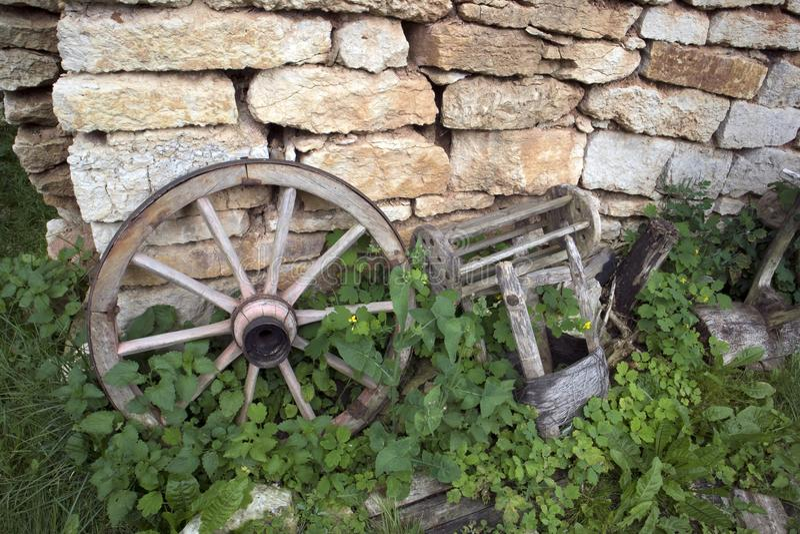 Museo de cosas campesinas antiguas, rueda vieja del aire abierto imágenes de archivo libres de regalías