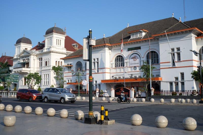 Museo de Indonesia del banco y la gran oficina de correos en el punto cero céntrico de Yogyakarta imagenes de archivo