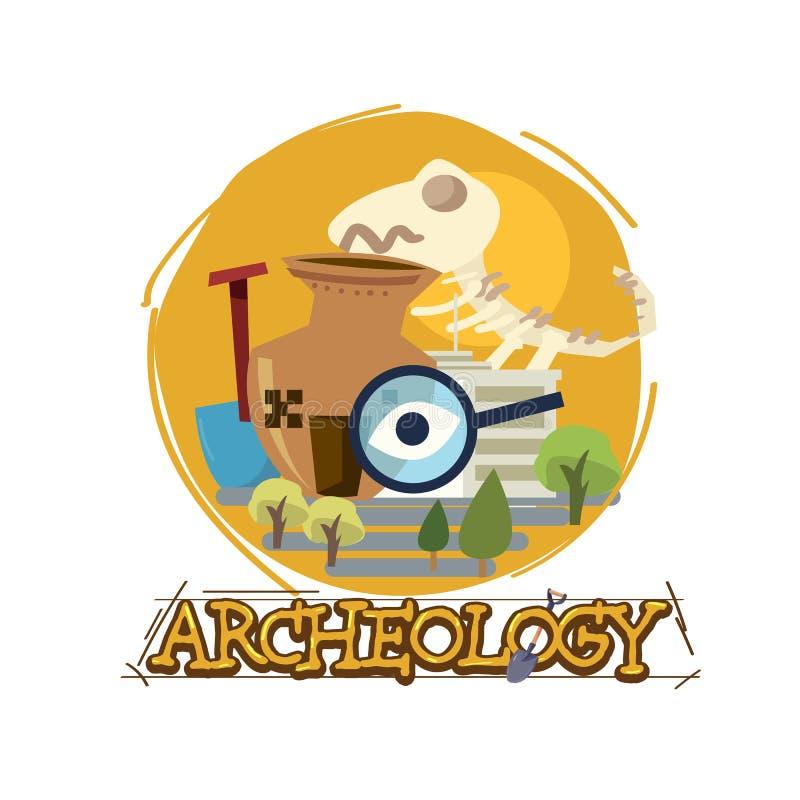 Museo de la arqueología con diseño tipográfico icono del archeologu - ejemplo ilustración del vector