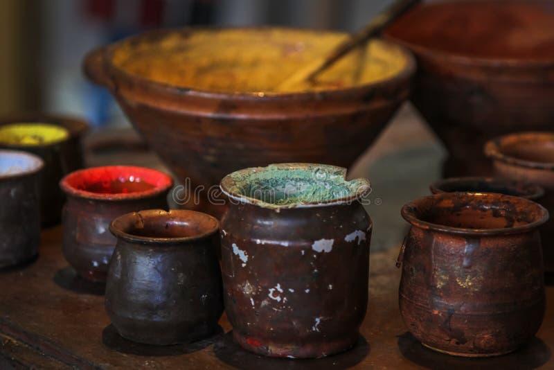 Museo de la casa de Rembrandt, Amsterdam, cierre encima de colores de aceite foto de archivo libre de regalías