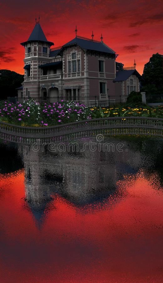 Museo de la ciudad de Valencia Venezuela. Museum of the city of Valencia Venezuela in the almost at night with the red sky royalty free stock image