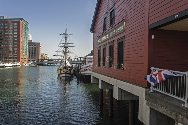 Museo de la fiesta del té en la costa de Boston imagen de archivo