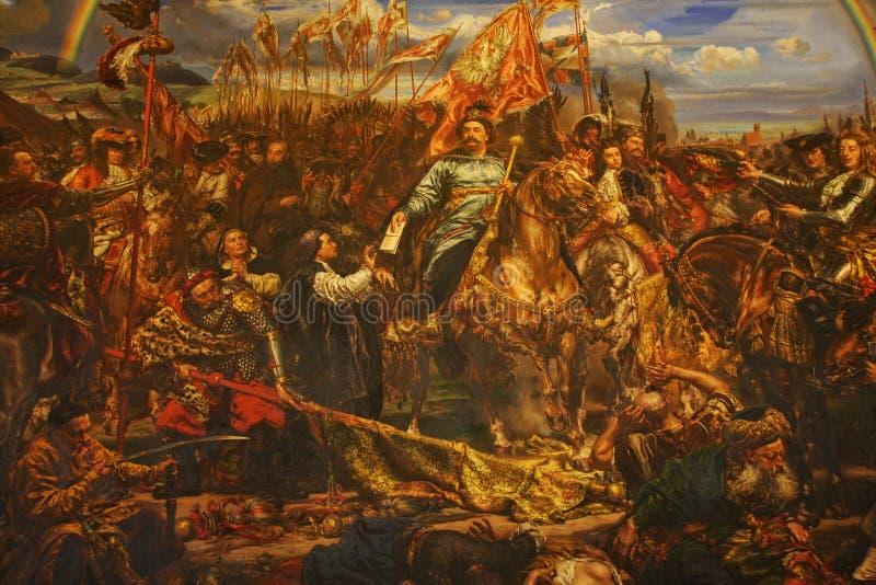 Museo de Vatican Pintura de rey Jan Sobieski en Viena durante guerra con los turcos Pintura de Jan Matejko imagen de archivo