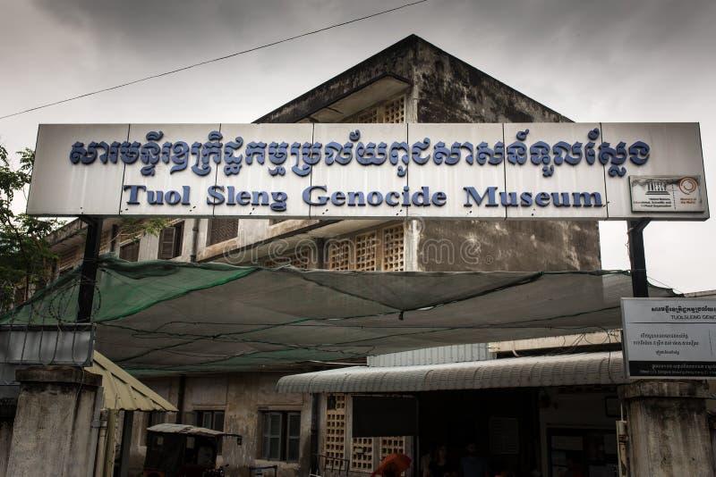 Museo del genocidio de Tuol Sleng en Phnom Penh, Camboya foto de archivo