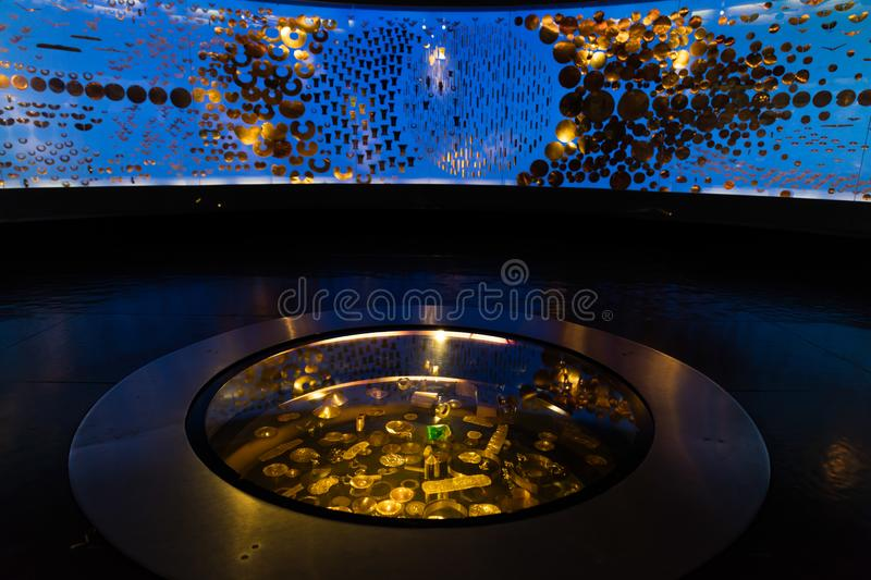 Museo del Oro gold museum Bogota Colombia. Bogota , Colombia  - February 23, 2017 : Museo del Oro gold museum in Bogota capital city of Colombia South America stock image