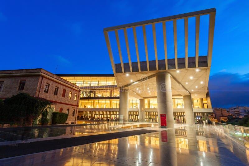 Museo dell'acropoli nel punto di vista della parte di destra di Atene? fotografia stock libera da diritti