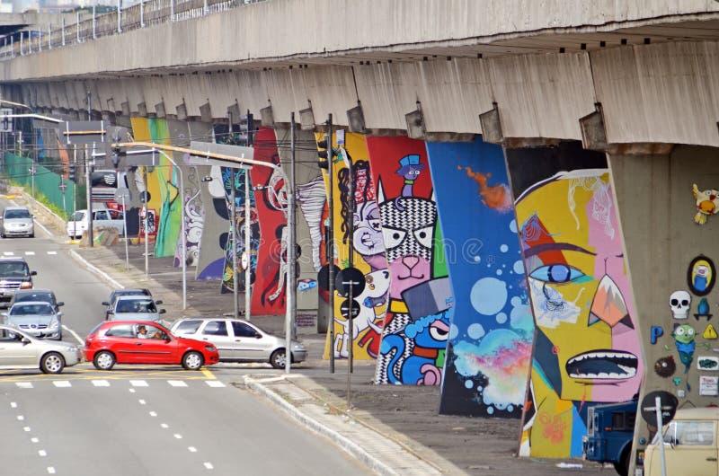 Museo dell'aria aperta di arte urbana a Sao Paulo immagine stock libera da diritti