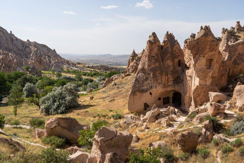 Museo dell'aria aperta di Zelve, città antica in Cappadocia, l'Anatolia centrale, Turchia fotografia stock libera da diritti