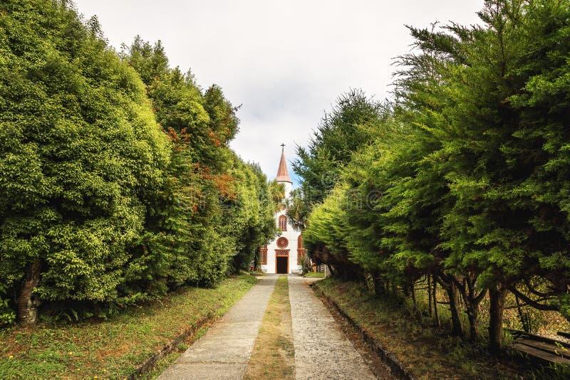 Museo della chiesa di Chiloe e centro dell'ospite al precedente convento di Inmaculada Concepción - Ancud, isola di Chiloe, Cile fotografia stock