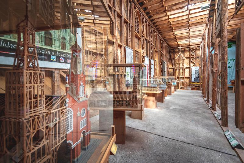 Museo della chiesa di Chiloe ed interno del centro dell'ospite al precedente convento di Inmaculada Concepción - Ancud, isola di  fotografie stock libere da diritti