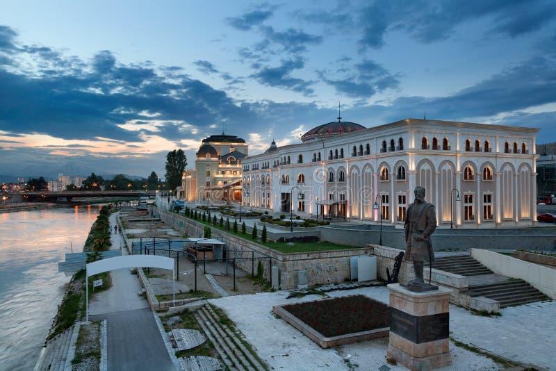 Museo della lotta e del teatro nazionale macedoni, Skopje fotografia stock libera da diritti