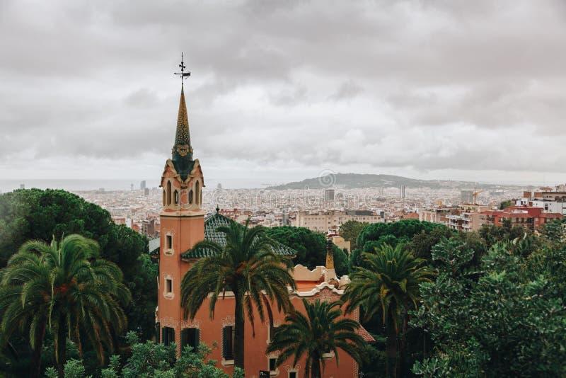 Museo di Antoni Gaudi in parco Guell, Barcellona, Spagna fotografie stock libere da diritti