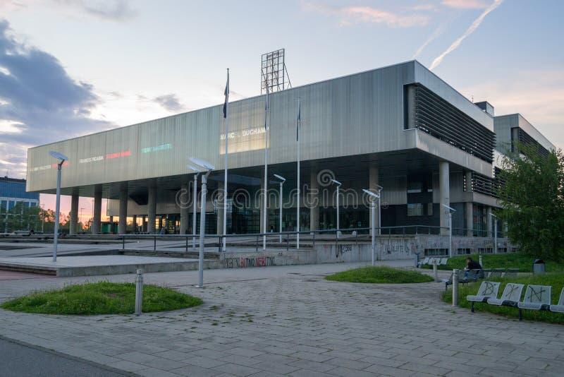 Museo di arte contemporanea in Zagreb Croatia immagini stock
