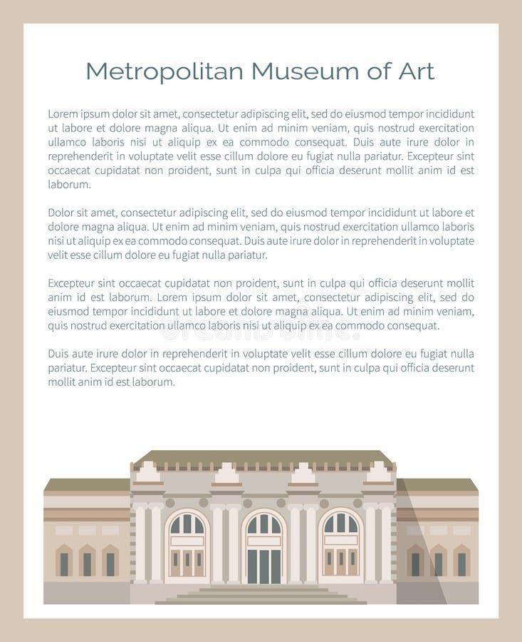 Museo di arte metropolitano nel vettore di New York illustrazione di stock