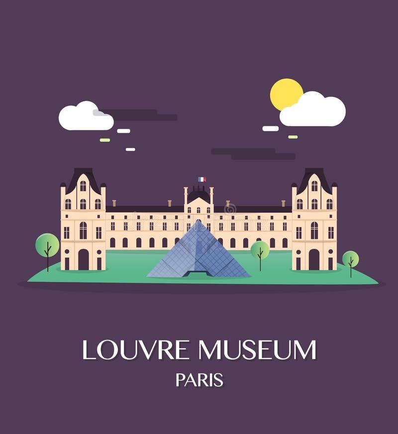 Museo famoso Parigi Francia del Louvre del punto di riferimento illustrazione vettoriale