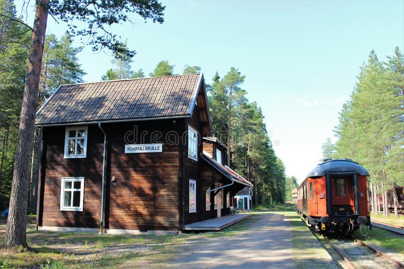 Museo ferroviario di Norrbotten nel ???di Â?del ? del ?? del ?del ???'?? del ?del ?? del ?di ?? del ??? del ? di Lule??'? fotografie stock libere da diritti