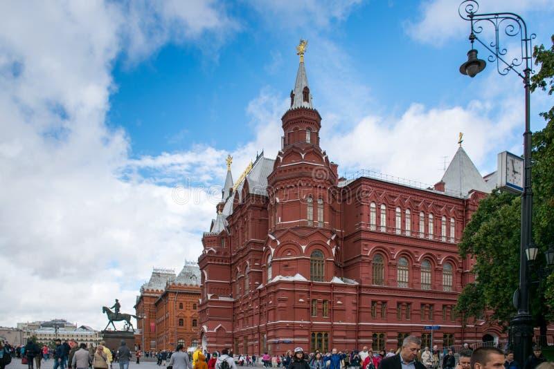 Museo histórico del estado en la Plaza Roja y el cuadrado de Manege en Moscú fotografía de archivo libre de regalías