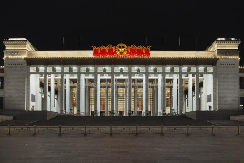 Museo Nacional de China en la noche, Pekín, China fotos de archivo