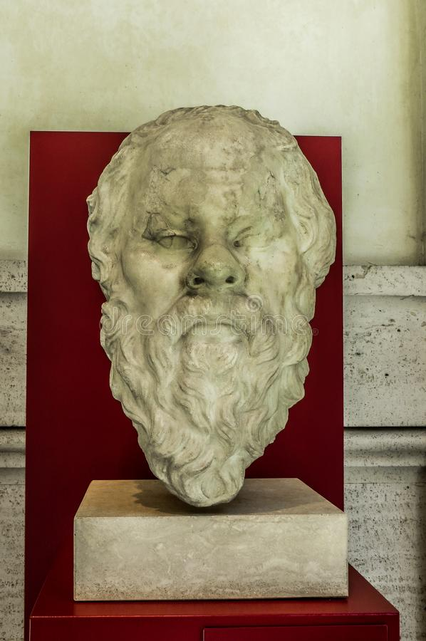 Museo nazionale - Socrates Bust Ancient Sculpture immagine stock
