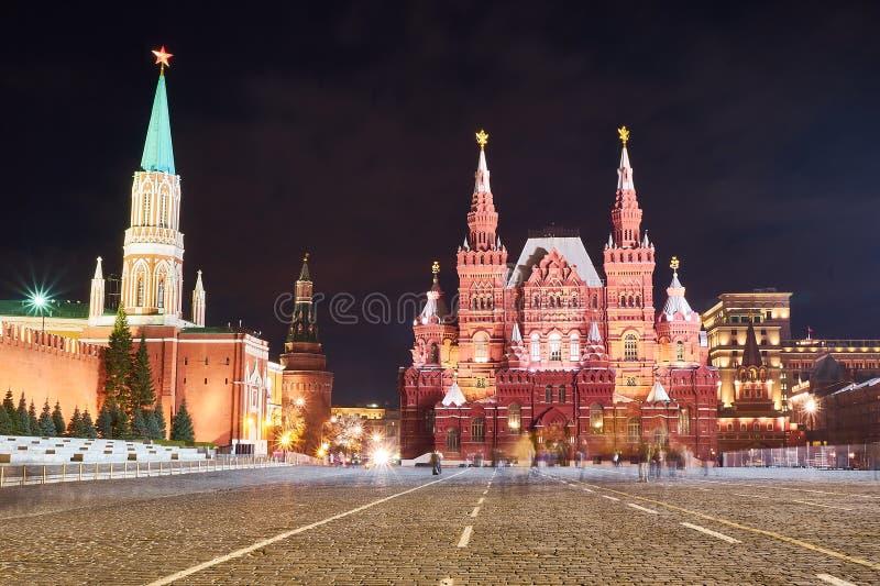 Museo storico di Stato di notte, Mosca, Russia fotografia stock libera da diritti