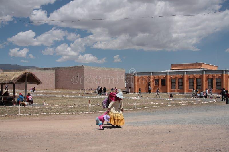 Museos del sitio arqueológico de Tiwanaku, Bolivia foto de archivo libre de regalías