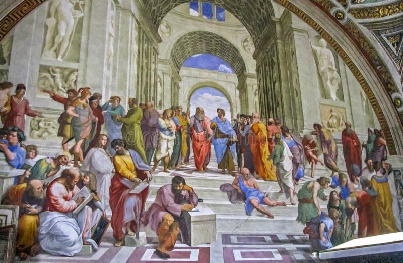 Museos del Vaticano - la escuela de Raphael de Atenas imagen de archivo