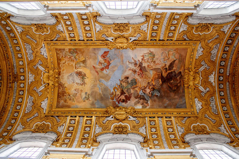Museos del Vaticano - pintura en techo imagen de archivo libre de regalías