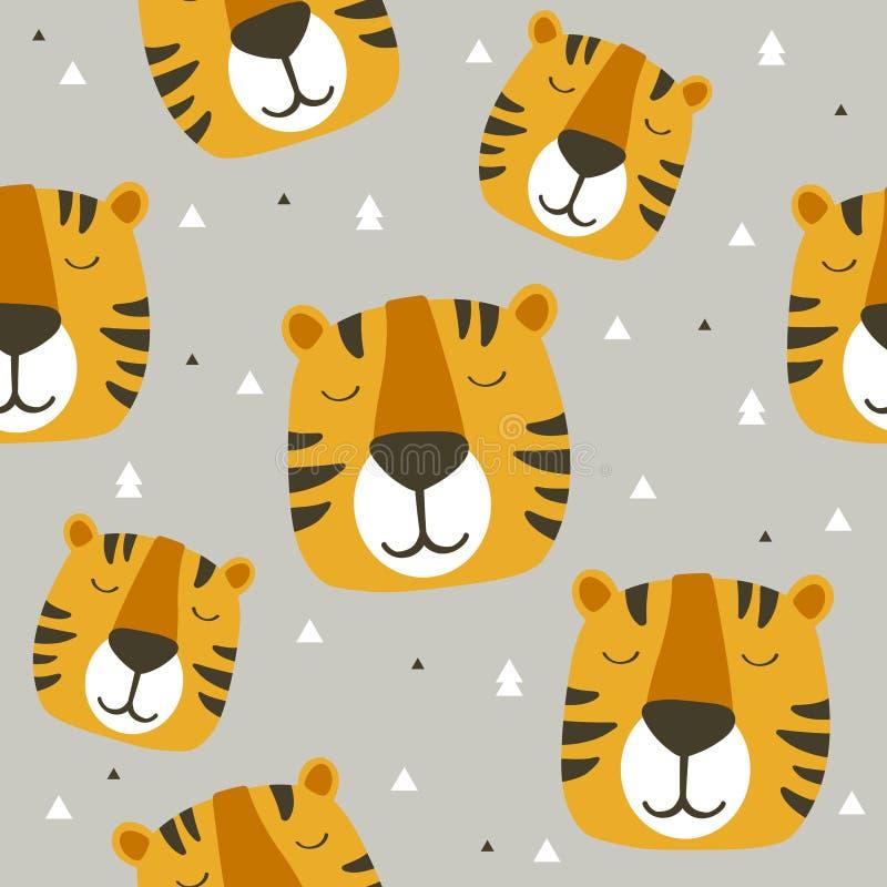 Museruola delle tigri, fondo sveglio decorativo Modello senza cuciture variopinto con le museruole degli animali illustrazione di stock