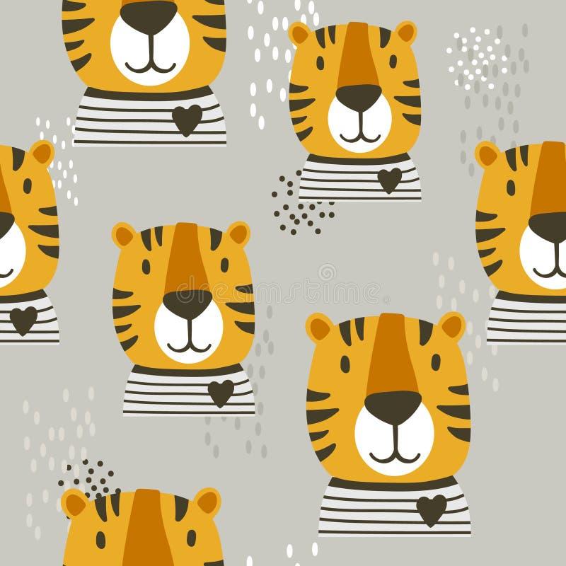 Museruola delle tigri, fondo sveglio decorativo Modello senza cuciture variopinto con le museruole degli animali royalty illustrazione gratis