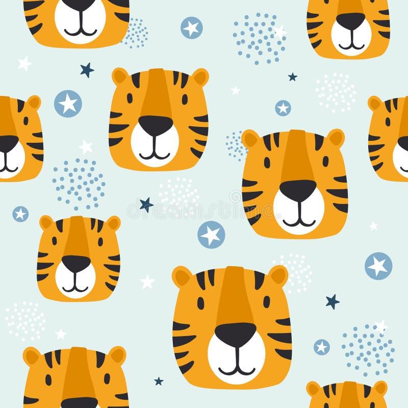 Museruole delle tigri, modello senza cuciture sveglio variopinto royalty illustrazione gratis